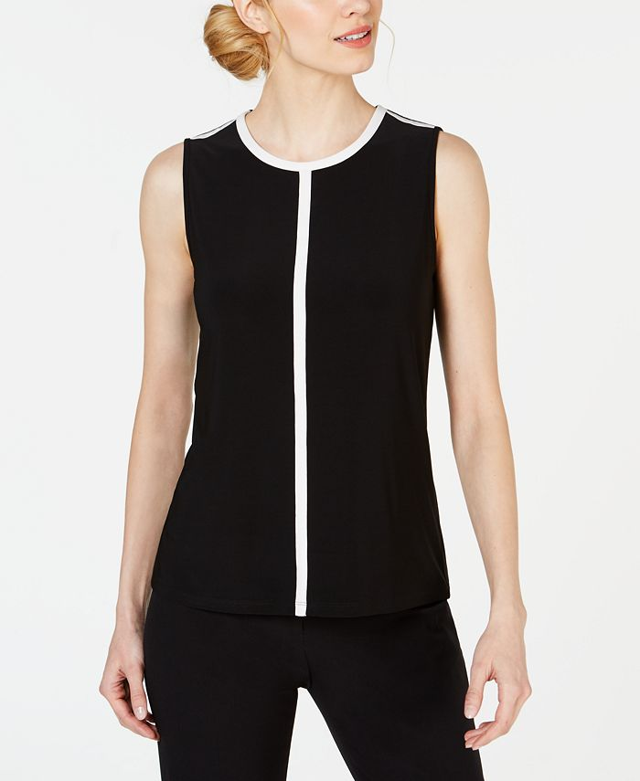 Anne Klein - Piped Sleeveless Crewneck Top