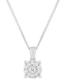 """Diamond Halo 18"""" Pendant Necklace (1/3 ct. t.w.) in 14k White, Yellow or Rose Gold"""