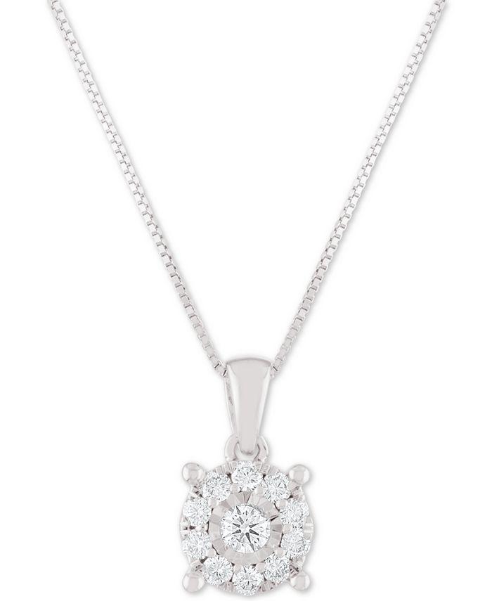 "Macy's - Diamond Halo 18"" Pendant Necklace (1/3 ct. t.w.)"