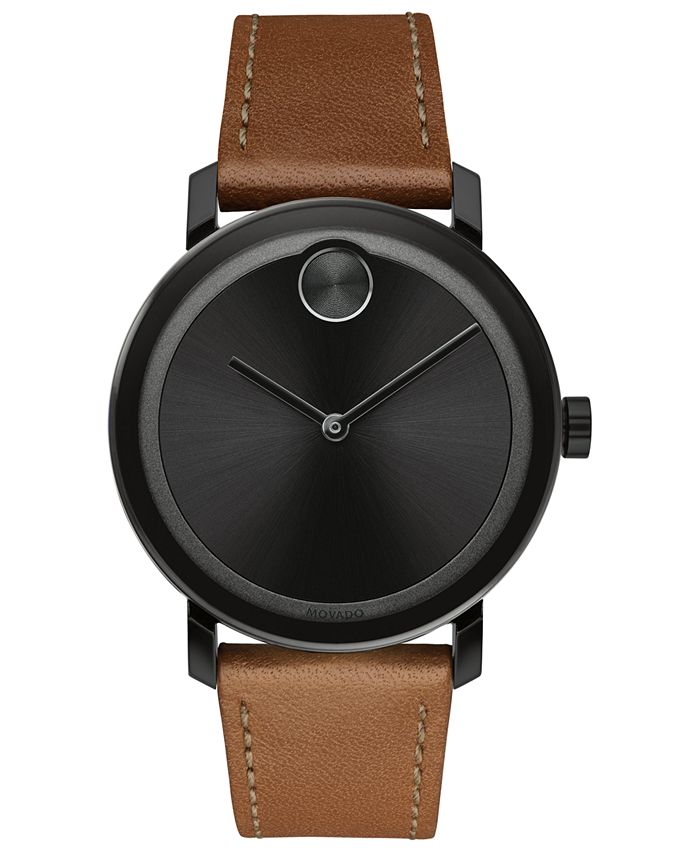 Movado - Men's Swiss BOLD Cognac Leather Strap Watch 40mm