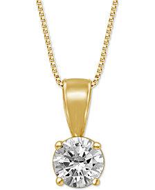 """Diamond Solitaire 18"""" Pendant Necklace (3/4 ct. t.w.)"""