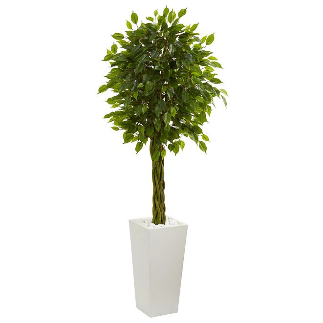 Nearly Natural 5' Braided Ficus Artificial Tree in White Tower Planter UV Resistant
