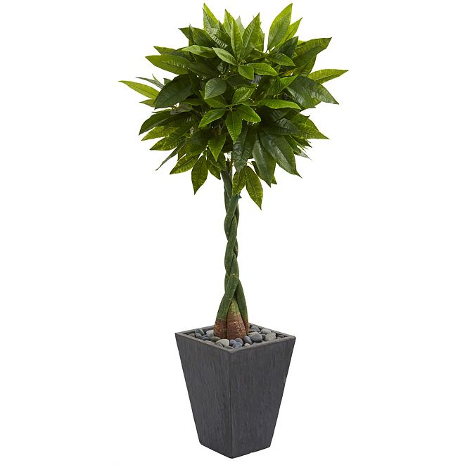 Nearly Natural 5' Money Artificial Tree in Slate Planter - Real Touch