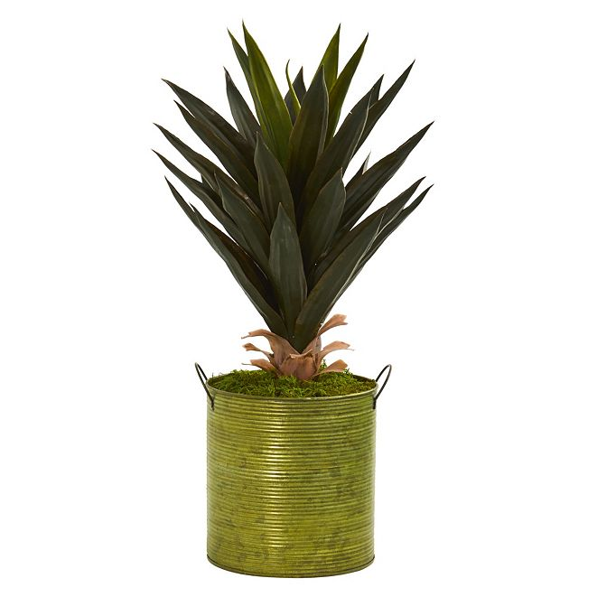 "Nearly Natural 23"" Agave Artificial Plant in Green Metal Planter"