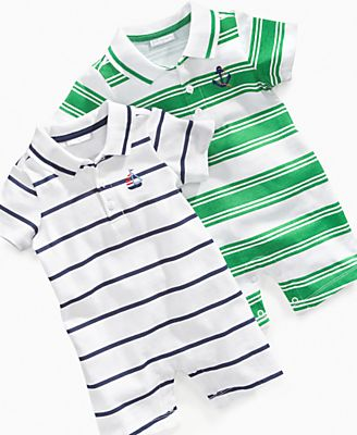 First Impressions Baby Romper, Baby Boys Striped Polo Romper