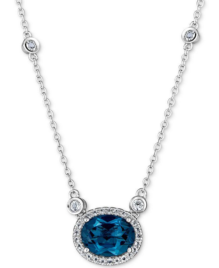 "Macy's - London Blue Topaz (2 ct. t.w.) & White Topaz (1-1/5 ct. t.w.) 18"" Pendant Necklace in Sterling Silver"