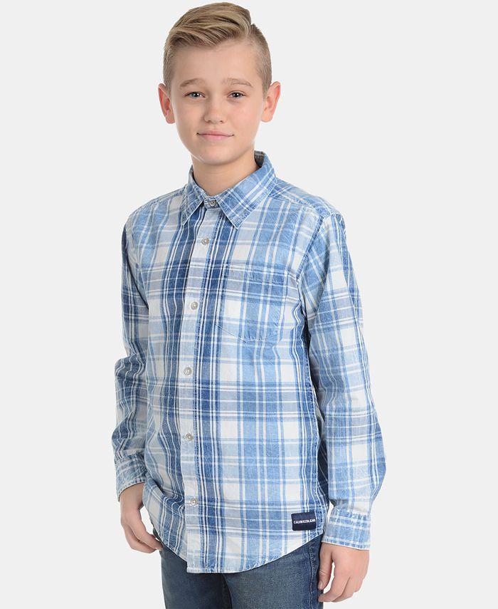Calvin Klein - Big Boys Washout Plaid Cotton Shirt
