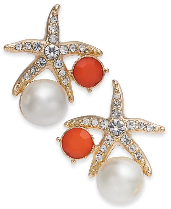 Charter Club - Gold-Tone Crystal and Imitation Pearl Starfish Earrings