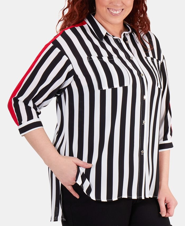 NY Collection - Plus Size Racing-Striped High-Low Blouse