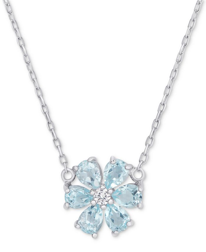 """Macy's - Blue Topaz (1-1/5 ct. t.w.) & White Topaz Accent Flower 18"""" Pendant Necklace in Sterling Silver"""