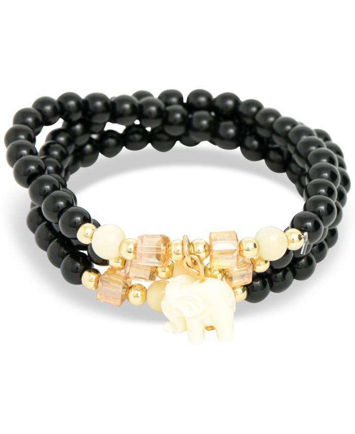 Zenzii Gold-Tone Elephant Charm Beaded Multi-Row Bracelet & Reviews - Bracelets - Jewelry & Watches - Macy's