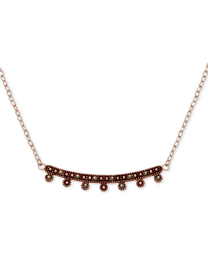"""Macy's - Marcasite Curved Bar Pendant Necklace in Rose Gold-Plate, 17"""" + 1"""" extender"""