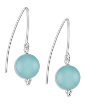 Sterling Silver Earrings Chalcedony Hook Earrings 10mm