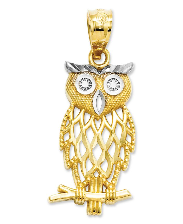 Macy's - 14k Gold and Sterling Silver Charm, Owl Charm
