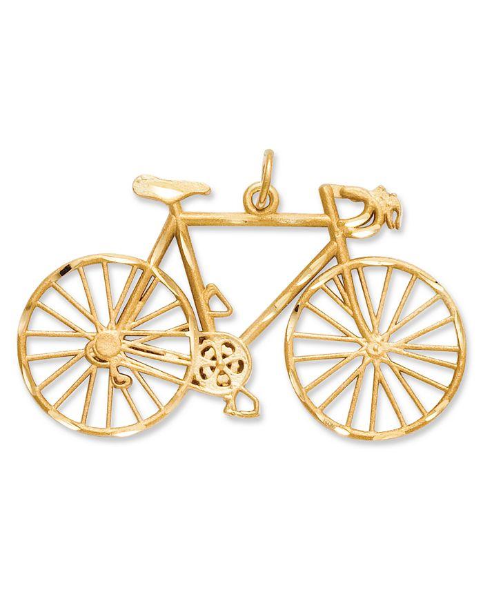 Macy's - 14k Gold Charm, Diamond-Cut Bicycle Charm