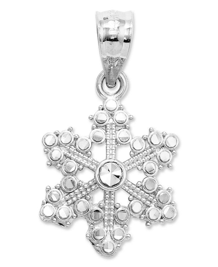 Macy's - 14k White Gold Charm, Snowflake Charm
