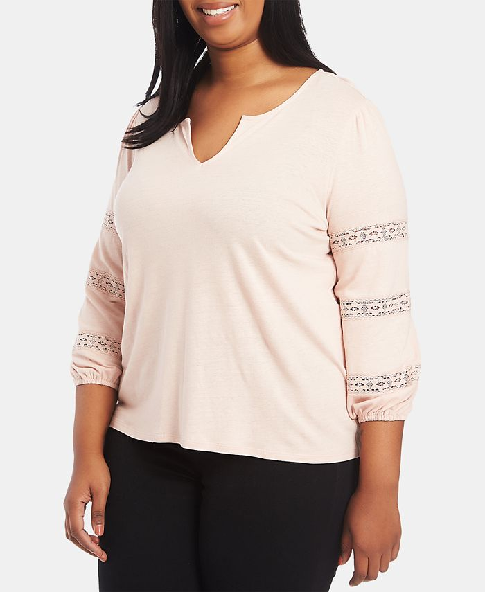 1.STATE - Plus Size Lace-Inset Top