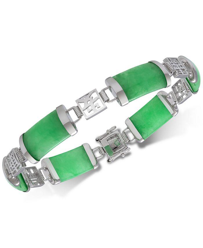 Macy's - Dyed Jade  (18 x 9mm) Link Bracelet in Sterling Silver