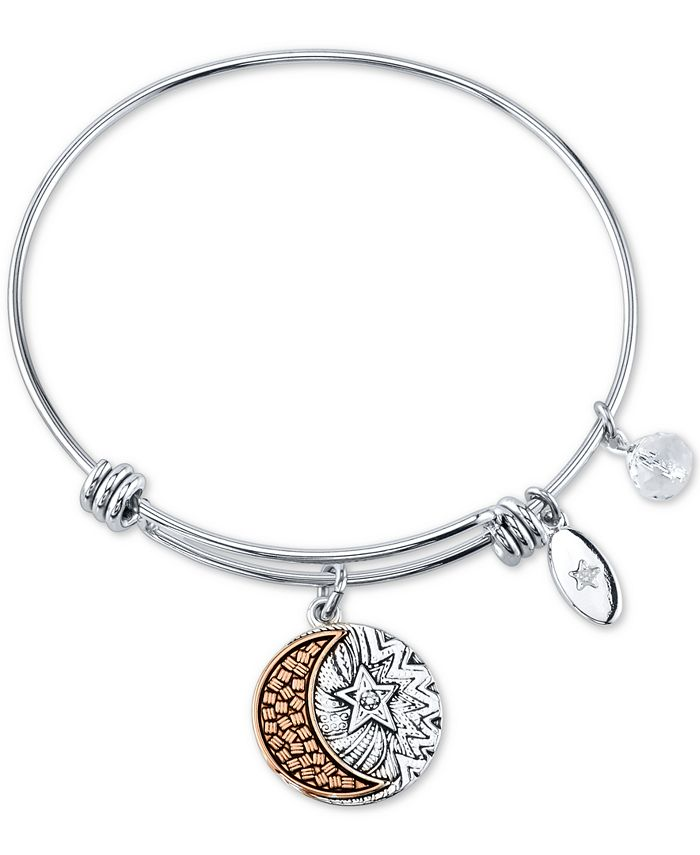 "Unwritten - ""You Are My Everything"" Moon and Star Multi-Charm Bangle Bracelet in Stainless Steel & Rose Gold-Tone Stainless Steel"