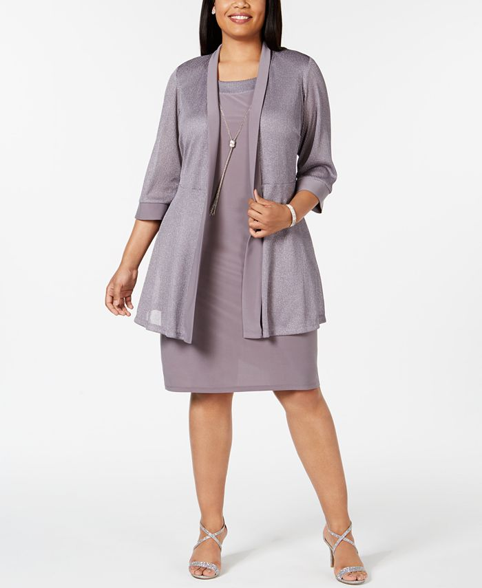 R & M Richards - Plus Size Shift Dress & Metallic Jacket