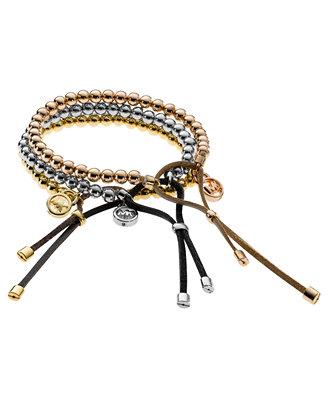 michael kors tri tone beaded leather bracelet jewelry
