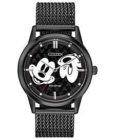 Disney by Citizen Eco-Drive Unisex Mickey Mouse Black Mesh Bracelet Watch 40mm