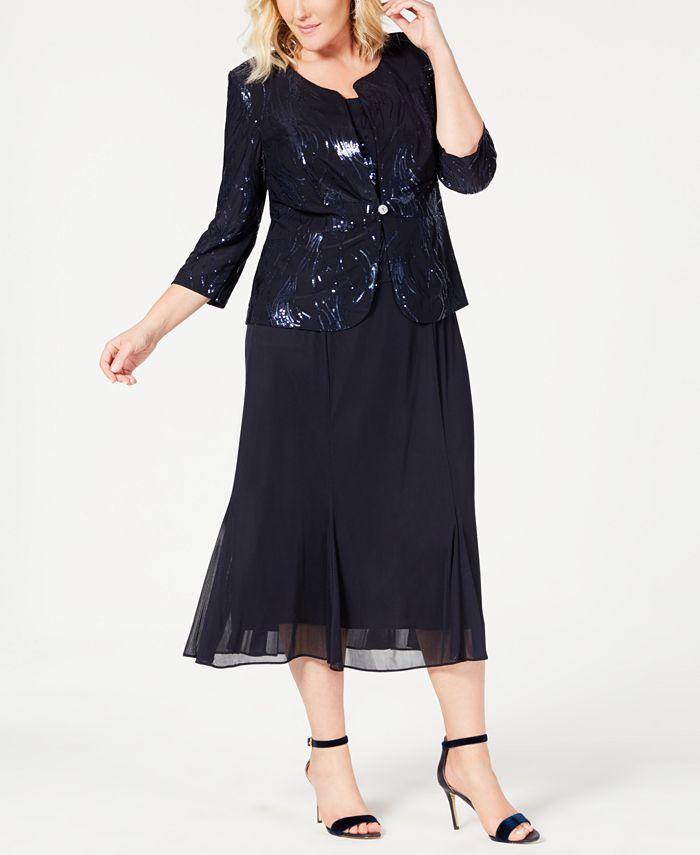 Alex Evenings - Plus Size Sequin Chiffon Dress and Jacket