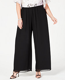Alex Evenings Plus Size Wide-Leg Chiffon Pants