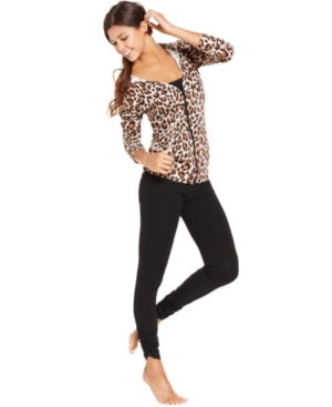 Material Girl Sleepwear, Hooded Top and Leopard Leggings