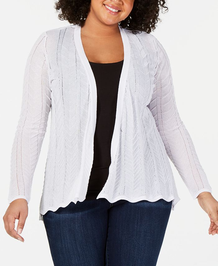 Belldini - Plus Size High-Low Open-Front Cardigan
