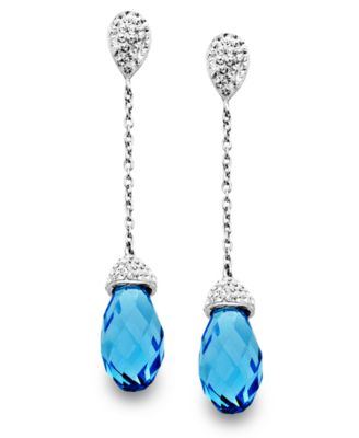 Kaleidoscope Sterling Silver Earrings, Blue Crystal Briolette Drop Earrings with Swarovski Elements