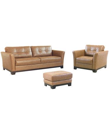 Martino Leather Living Room Furniture 3 Piece Set Sofa