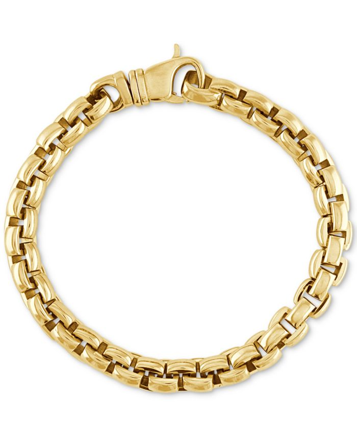 Esquire Men's Jewelry Curved Link Bracelet in Gold Ion-Plated Stainless Steel, Created for Macy's & Reviews - Bracelets - Jewelry & Watches - Macy's