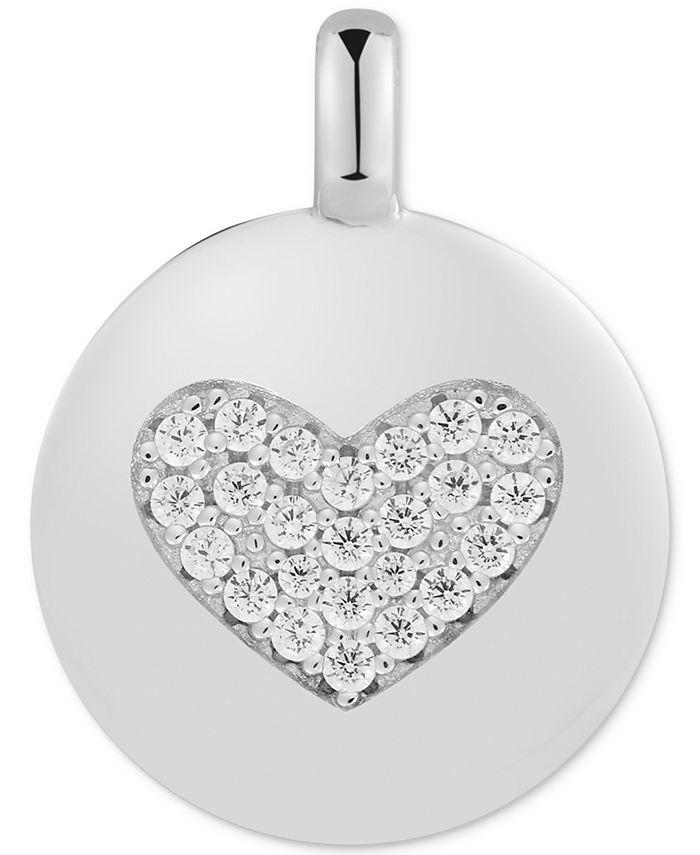 "CHARMBAR - Swarovski Zirconia Heart ""Love Always"" Reversible Disc Pendant in Sterling Silver"