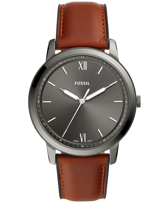 Fossil - Mens Minimalist gray case with brown leather strap