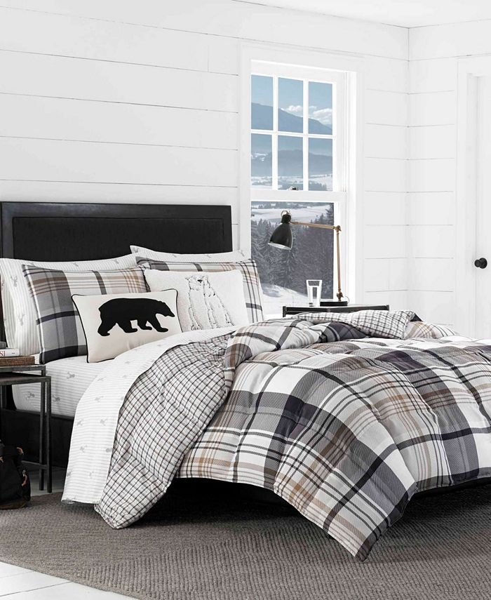 Eddie Bauer - Normandy Plaid Black Comforter Set, Full/Queen