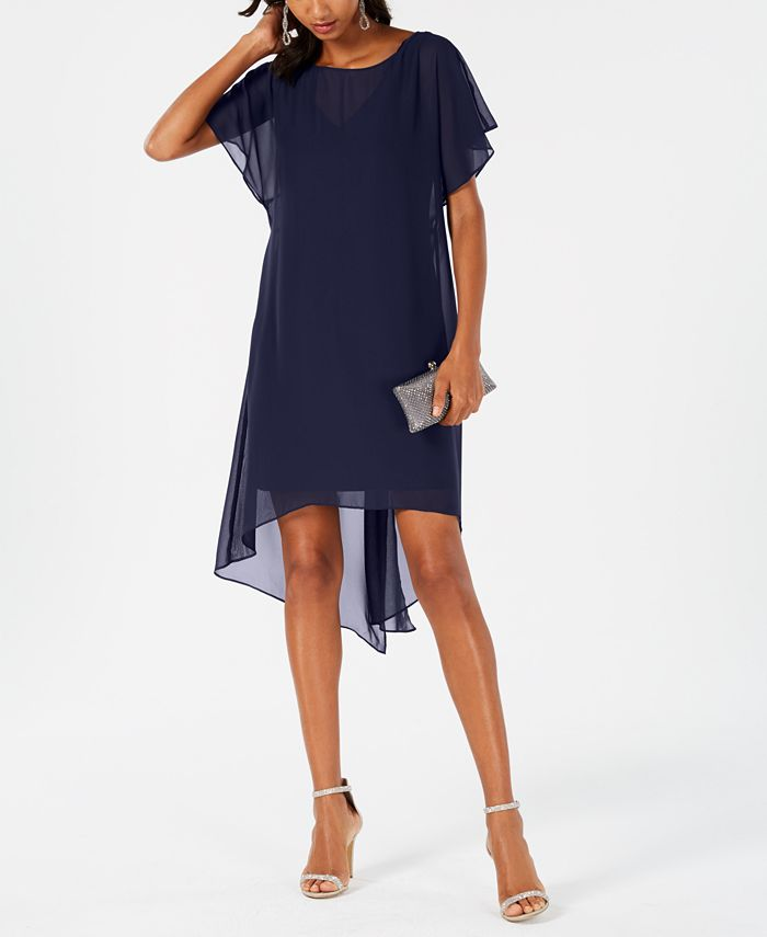 Adrianna Papell - Chiffon-Overlay A-line Dress