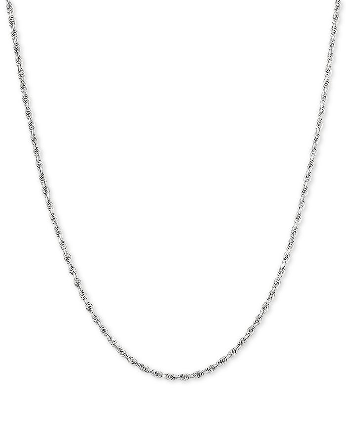 """Macy's - Glitter Rope 18"""" Chain Necklace in 14k White Gold"""