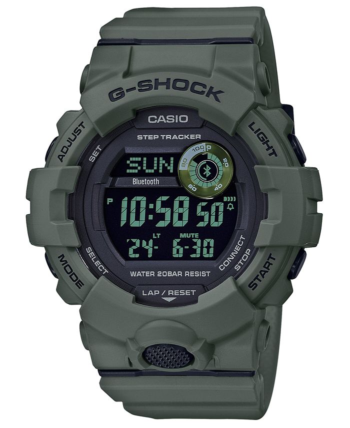 G-Shock - Men's Digital Olive Green Resin Strap Watch 48.6mm