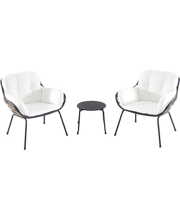 "Hanover Naya 3-Piece Chat Set with Cushions - 30.51"" x 29.33"" x 47.5"""