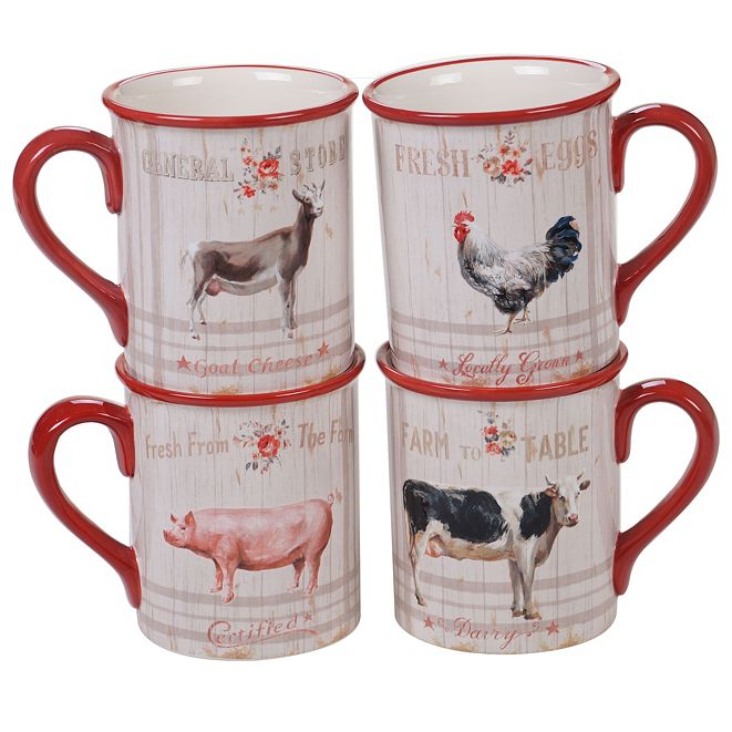Certified International Farmhouse Mugs, Set of 4