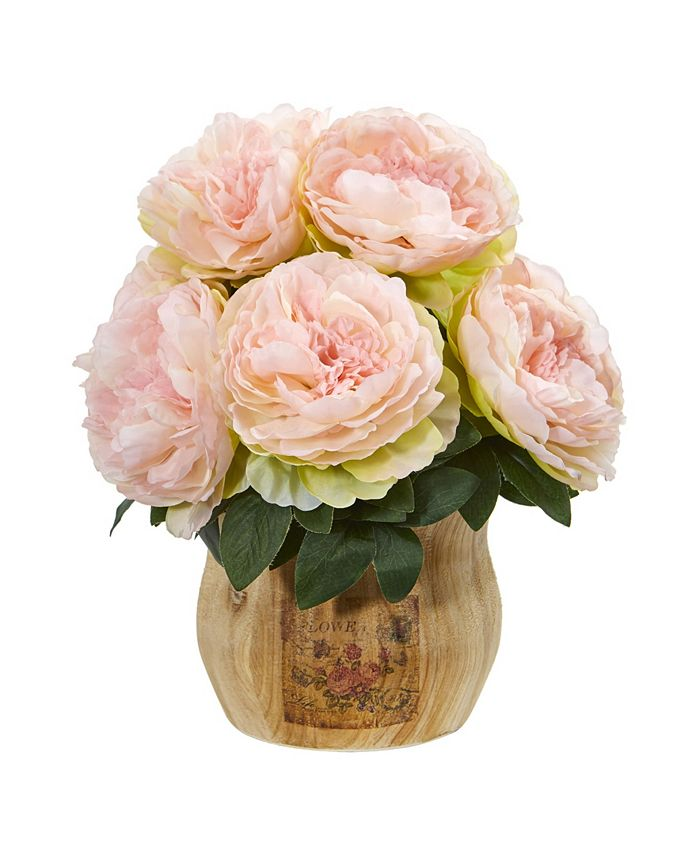 Nearly Natural - Peony Artificial Arrangement in Decorative Planter