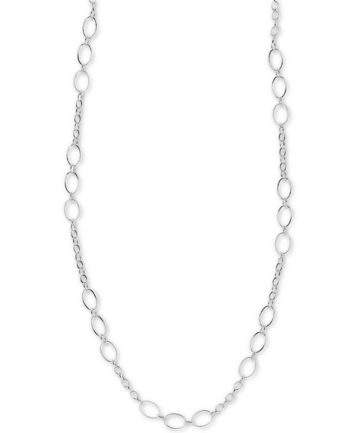 """Argento Vivo - Fancy Link 36"""" Chain Necklace in Sterling Silver"""