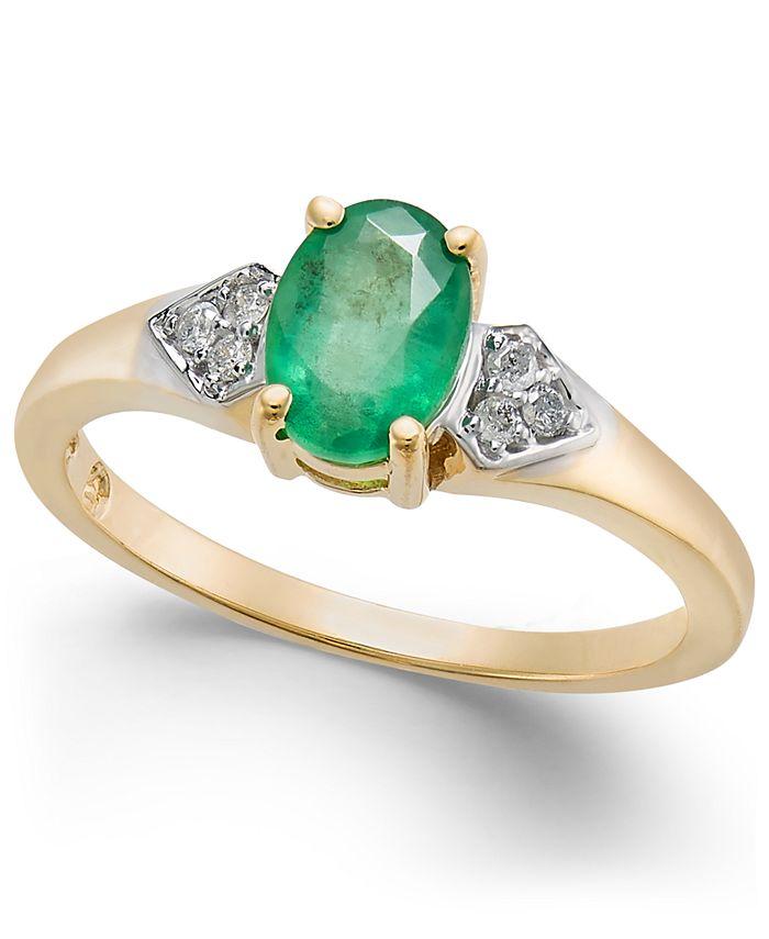 Macy's - Emerald (3/4 ct. t.w.) & Diamond Accent Ring in 14k Gold
