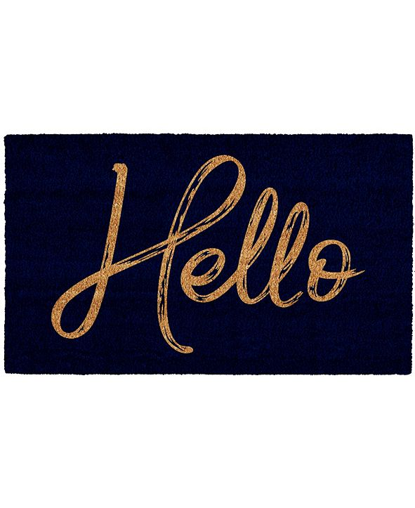 "Home & More Canty Hello Black 24"" x 36"" Coir/Vinyl Doormat"