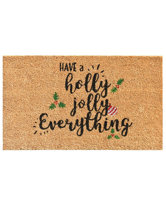 "Home & More - Holly Jolly 17"" x 29"" Coir/Vinyl Doormat"