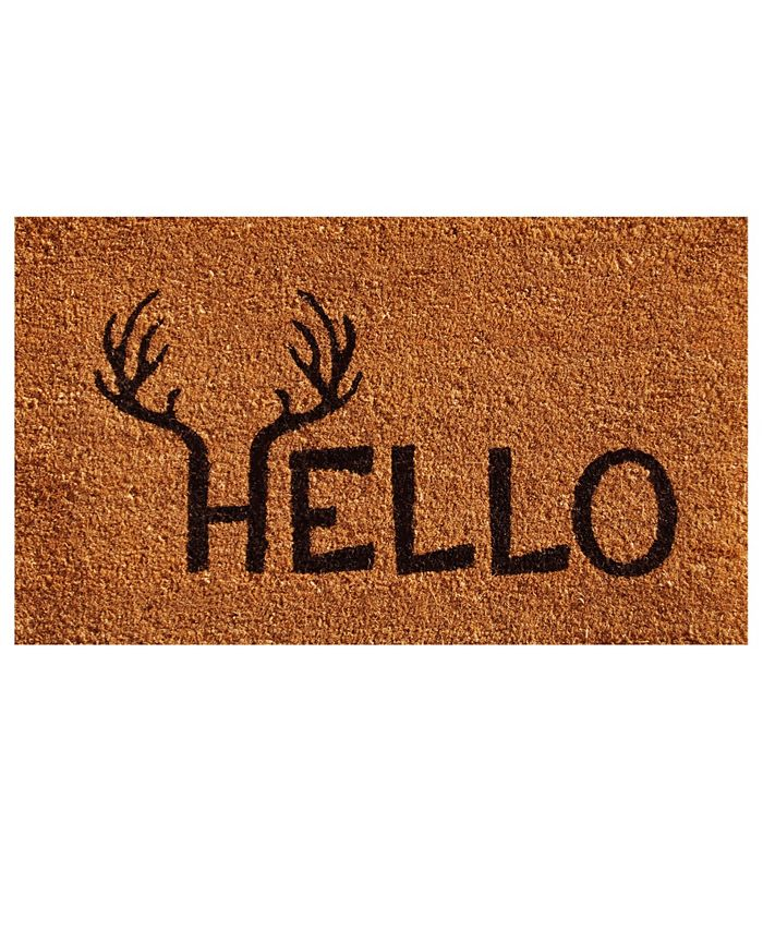 "Home & More - Antler Hello 17"" x 29"" Coir/Vinyl Doormat"