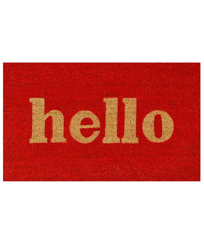 """Home & More - Hello Script 24"""" x 36"""" Coir/Vinyl Doormat"""