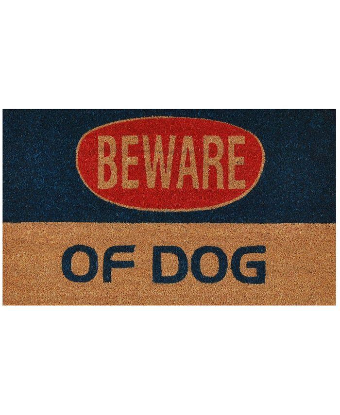 """Home & More - Dog Warning 17"""" x 29"""" Coir/Vinyl Doormat"""