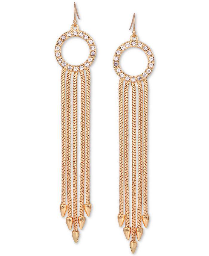 GUESS - Gold-Tone Pavé Circle & Multi-Chain Drop Earrings